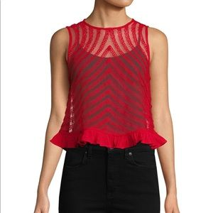 Free People ruffle mesh red shell top. Med.